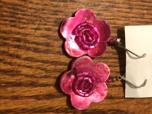 Pink Flower Shell Earrings Pierced Ears for Sale in Madera, CA