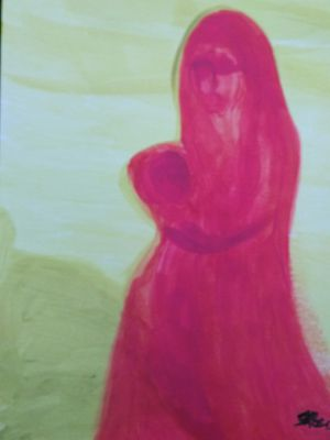 ORIGINAL ABSTRACT HAND PAINTED MARY AND JESUS ART for Sale in Orlando, FL