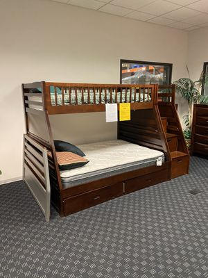 "Twin / Full Bunk Bed with Storage Steps and under Bunk storage drawers in Espresso and Walnut 64""x98"" for Sale in Vancouver, WA"