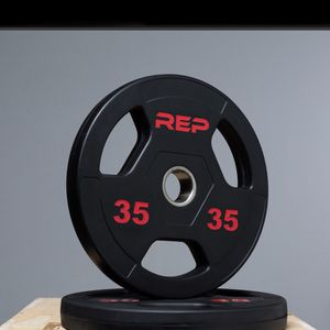 """**Brand New** RepFitness (2x) 35lbs RUBBER COATED OLYMPIC 2"""" Hole Weight Plates for Sale in El Monte, CA"""