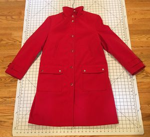 MICHAEL KORS RED QUILTED LINED LONG TRENCH STYLE COAT JACKET SIZE PETITE LARGE for Sale in Puyallup, WA