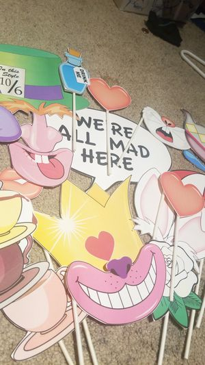 Alice in wonderland paper photo booth props for Sale in North Las Vegas, NV