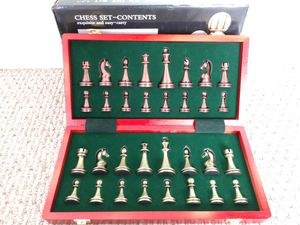 LZK CHESS. Wood Wooden inlaid 12 in. Metal Chess pieces 2.6 in. The best quality. for Sale in Plantation, FL