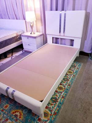 New TWIN upholstered bed frame, mattress sold separately for Sale in West Palm Beach, FL