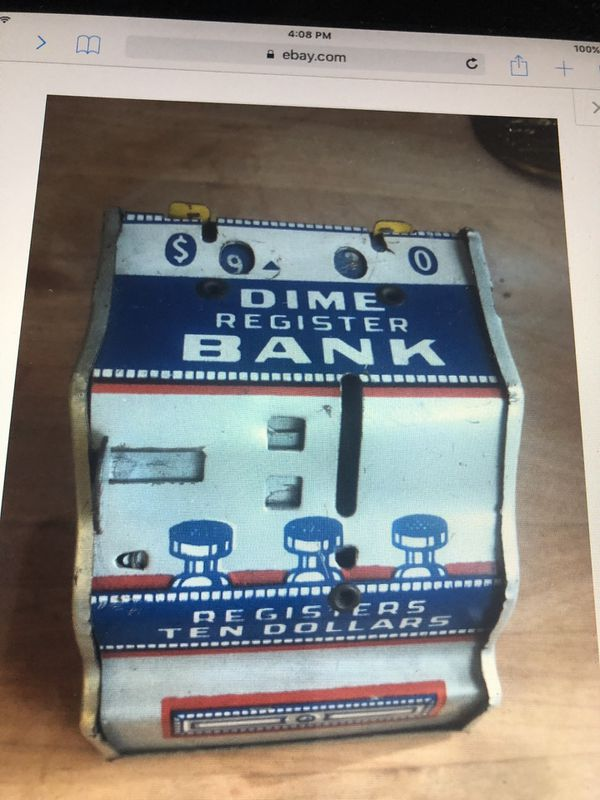 Vintage Chein dime register tin bank