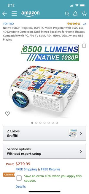 Brand brand new Native 1080P Projector, TOPTRO Video Projector with 6500 Lux, 4D Keystone Correction, Dual Stereo Speakers for Home Theater, Compatib for Sale in Chula Vista, CA