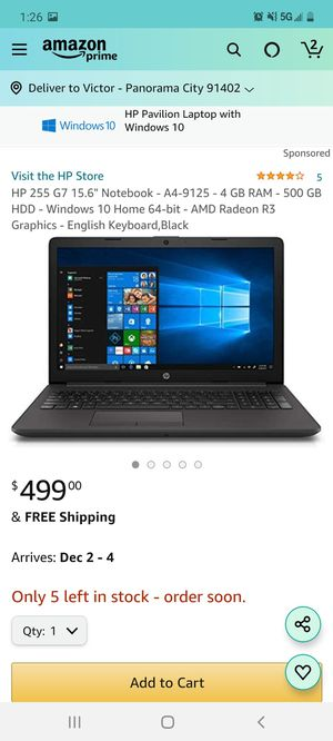 Hp g7 notebook like new condition for Sale in Los Angeles, CA
