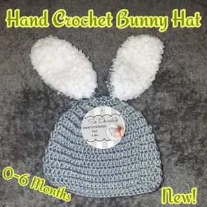 Hand Crochet Bunny Hat 0-6 months for Sale in Romeoville, IL
