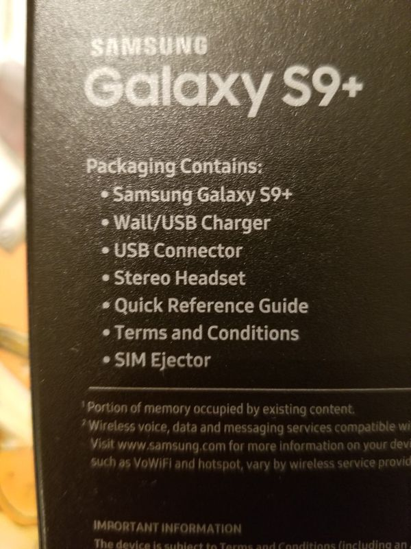 Samsung Galaxy S9+ 256gb Unlocked, Excellent Condition