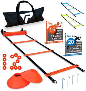 Pro Agility Ladder and Cones - 15 ft Fixed-Rung Speed Ladder with 12 Disc Cones for Sports Training - Includes Heavy Duty Carry Bag, 4 Metal Stakes a for Sale in Orange, CA