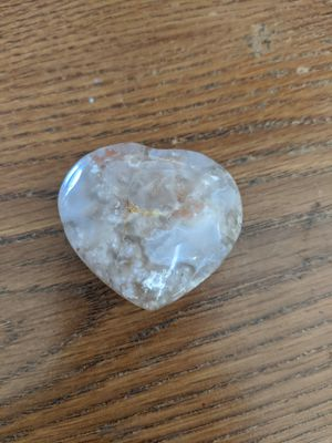 Flower agate heart palm stone crystal for Sale in Clinton, MO