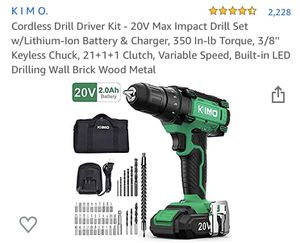 Cordless Drill Driver Kit - 20V Max Impact Drill Set w/Lithium-Ion Battery & Charger, 350 In-lb Torque, 3/8'' Keyless Chuck, 21+1+1 Clutch, Variable for Sale in Woodbridge Township, NJ