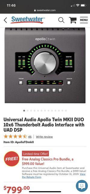 Universal Audio Apollo twin mkii Duo thunderbolt Audio Interface for Sale in Savannah, GA