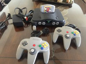 Nintendo 64 w Mario party 3 two original Controllers and cables for Sale in National City, CA