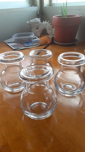 Therapeutic suction glass cups hand blown got him from my grandpa don't know how old they are they seem pretty old but they're in perfect condition for Sale in Spokane, WA