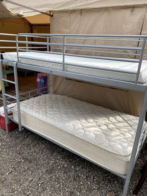 NICE SILVER TWIN OVER TWIN BUNK BED WITH TWIN MATTRESSES!! for Sale in Portland, OR