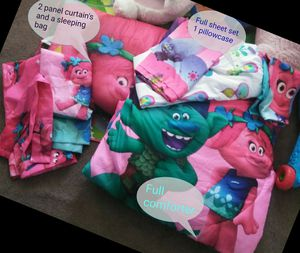 Trolls full size bed set wit extras for Sale in Colorado Springs, CO