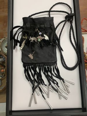 Sterling silver leather bag inlaid with turquoise, crystal, etc. for Sale in La Verne, CA