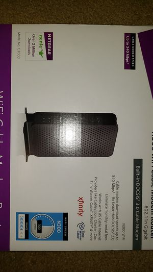 Netgear wifi cable modem router N300 for Sale in Weldon Spring, MO