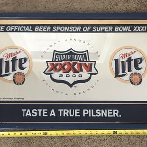 Miller Lite Super Bowl 2000 Mirror Sign 21x32 inches Just $35 for Sale in Port St. Lucie, FL