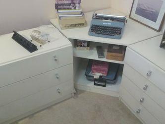 Low White Desk Office Or Kids Room Bedroom Furniture Drawers Cabinet Dresser Shelf for Sale in Mercer Island,  WA