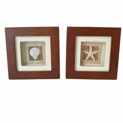 Set of 2 Shell Shadowbox Frames Pictures Wall Art Decorative Home Decor Seashell Wood Frame for Sale in Florence,  KY