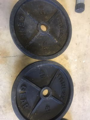 Pair of 45 Lbs Olympic weights plates for Sale in Centreville, VA