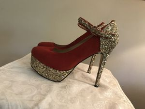 Red and Gold Suede Platform Heels for Sale in Adelphi, MD