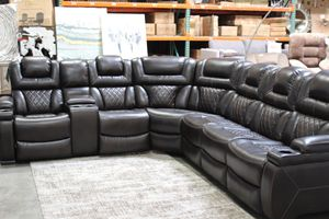Powered Reclining Faux Leather Sectional Sofa with Adj. Headrest, Brown, #75407 for Sale in Santa Fe Springs, CA