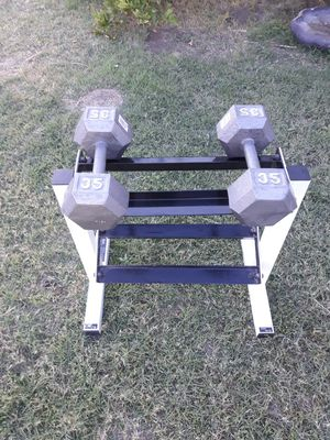 Dumbbell stand with dumbbells 35 lb each for Sale in Phoenix, AZ