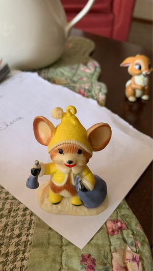 Vintage Mouse Christmas Ornament Hard Plastic Hong Kong Bell Yellow Put Light In for Sale in Grand Rapids, MI
