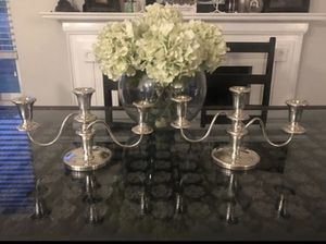 Sheffield silver plated 3 candelabra. Made in USA for Sale in Peoria, AZ