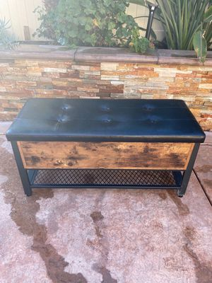 Industrial Storage Bench, Shoe Bench with Padded Seat and Metal Shelf, Multifunctional Seat Chest, Hallway Living Room, Sturdy Metal Frame for Sale in Corona, CA
