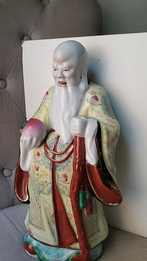 """Vintage Chinese Shou Xing (壽) Statue Figurine 15.5"""" Porcelain Longevity Stamped for Sale in Los Angeles, CA"""