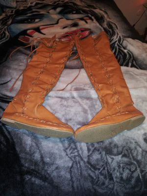 Thigh hi faux leather boots for Sale in Thornton, CO
