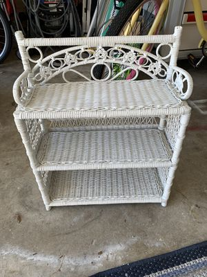Beautiful wicker vanity shelving unit 23 inches high for Sale in Palm Harbor, FL
