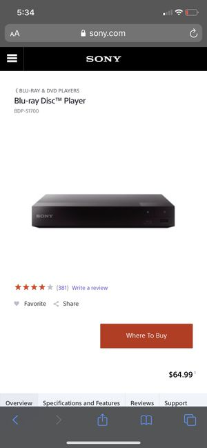 Sony Blue Ray DVD player-NEVER USED for Sale in Riverview, FL