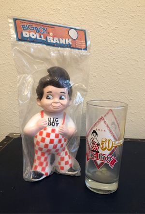 Big Boy doll bank and 50th anniversary Collectable Glass for Sale in Oceanside, CA