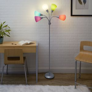 5-Light Multi Head Floor Lamp, Silver with Multi-color Shade for Sale in Houston, TX