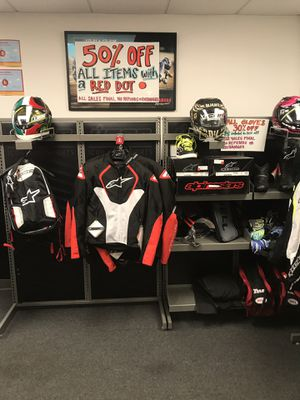 30 - 50% off all of our Motorcycle clothing, Helmets, Gloves, etc... for Sale in Culver City, CA