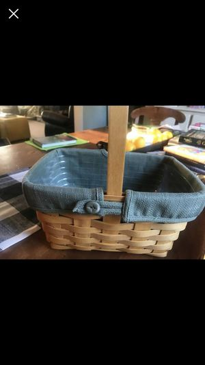 Longaberger basket with fabric and plastic liner for Sale in Uxbridge, MA