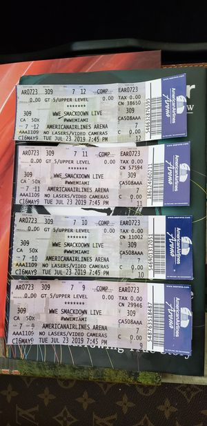 WWE SMACKDOWN LIVE TIKETS!! for Sale in Pompano Beach, FL