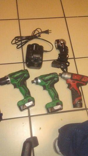 Hitachi 12vmax power impact drill and drill driver & Milwaukee m12 impact driver for Sale in Stockton, CA