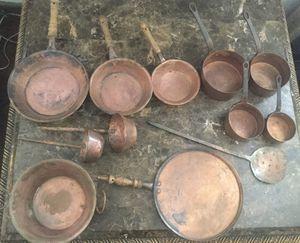 Set copper pots antique... 12 pcs. for Sale in South Gate, CA