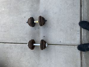 Adjustable 32.5 lb dumbbells 65lbs total weight 45$ for Sale in Fowler, CA