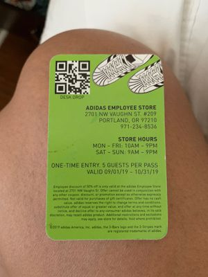 Adidas employee pass for Sale in Portland, OR