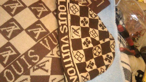 Louis Vuitton checkered knit cap , scarf, and change wallet