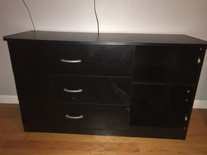 Three drawer black dresser with shelves for Sale in Berkeley, CA
