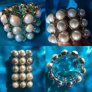 Three Row Pearl Gold Accent Stretch Bracelet Statement Bold Costume Jewelry for Sale in Glen Ellyn, IL