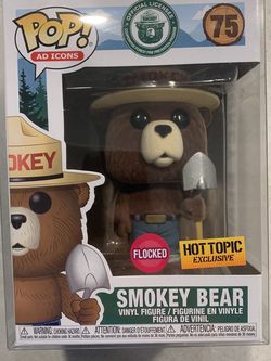 Flocked Smokey Bear Funko Pop *MINT* Hot Topic Exclusive Shovel Ad Icons 75 with protector for Sale in Lewisville,  TX